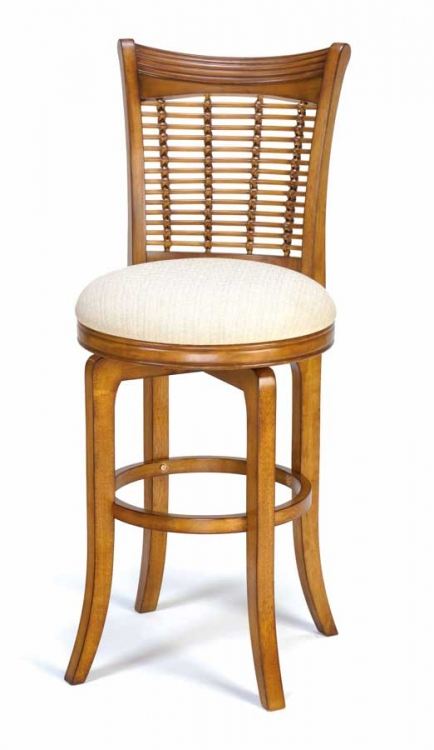 Bayberry Wicker Swivel Wood Counter Stool - Oak