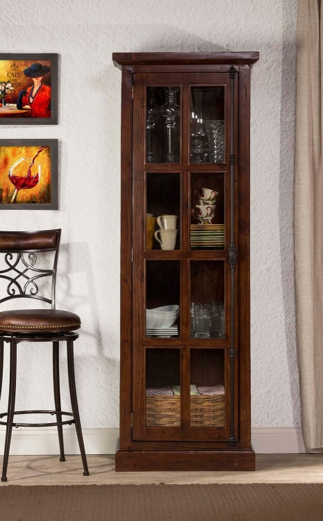 Tuscan Retreat Tall Single Door Cabinet - Rustic Mahogany