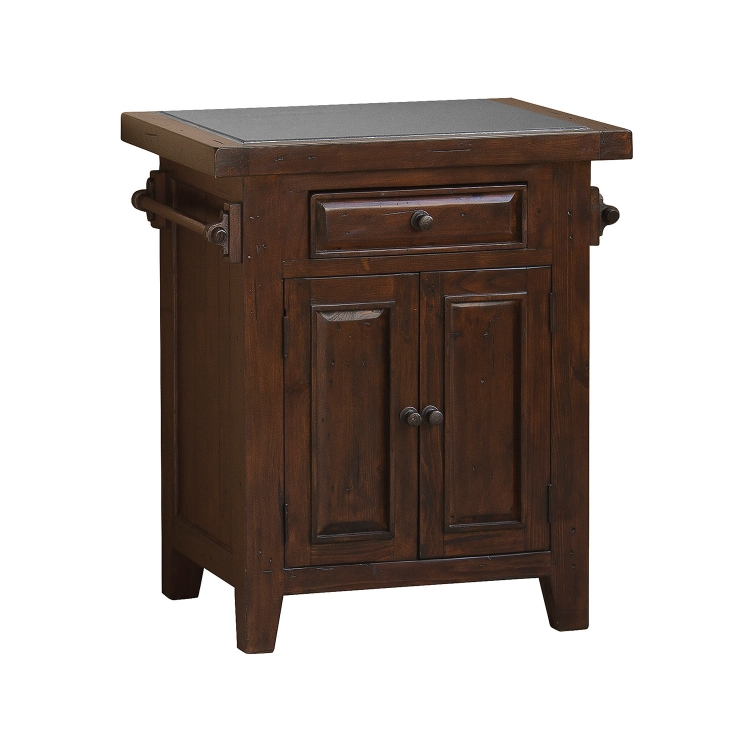 Tuscan Retreat Small Granite Top Kitchen Island - Rustic Mahogany