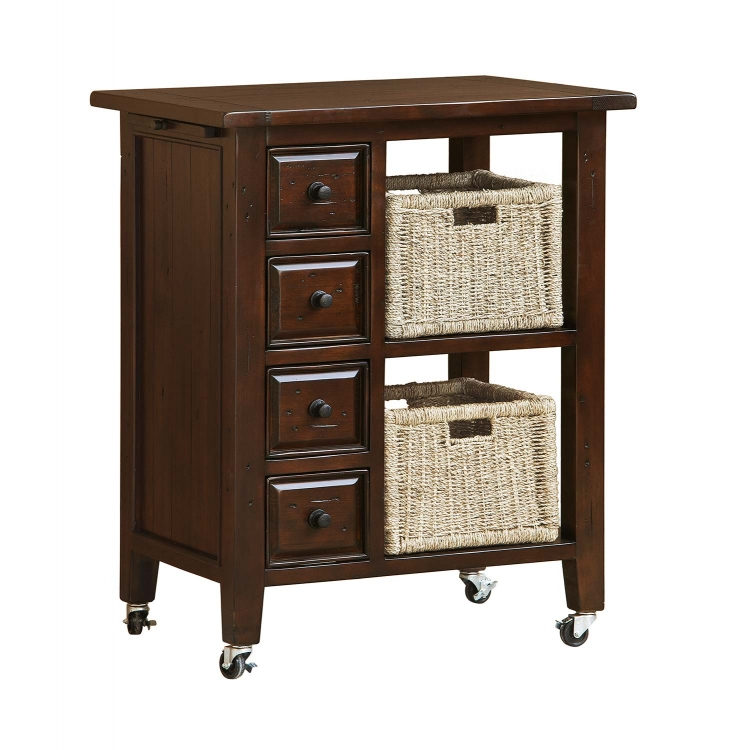 Tuscan Retreat Kitchen Cart with 2 Basket Storage - Rustic Mahogany