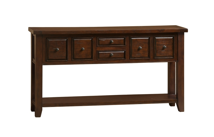 Tuscan Retreat 6 Drawer Hall Table - Rustic Mahogany