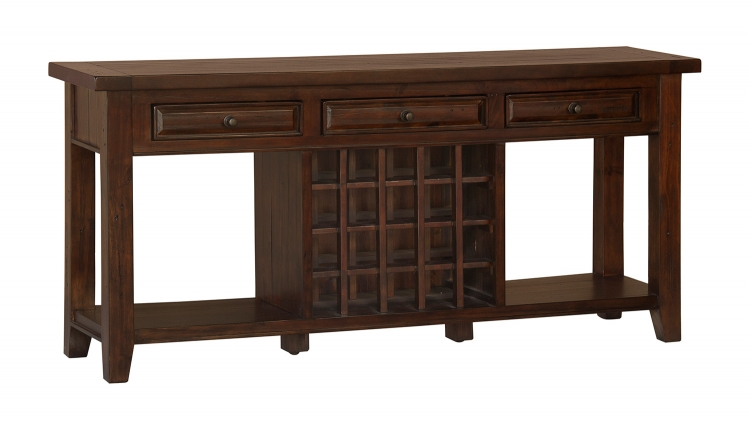 Tuscan Retreat Sideboard with 20 Bottle Wine Storage - Rustic Mahogany