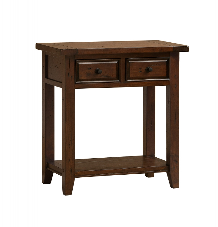 Tuscan Retreat 2 Drawer Hall Console Table - Rustic Mahogany