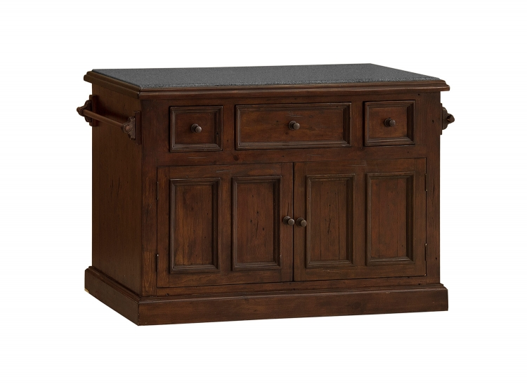 Tuscan Retreat Large Granite Top Kitchen Island - Rustic Mahogany
