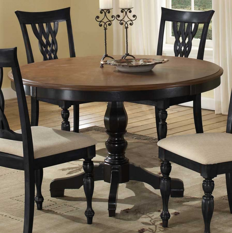 Embassy Round Pedestal Table with Wood Top - Hillsdale