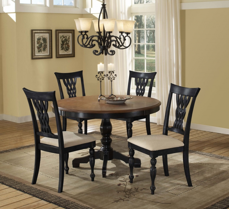 Embassy Round Pedestal Dining Table - Rubbed Black & Cherry