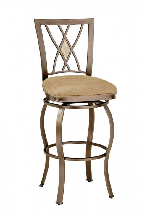 Brookside Diamond Fossil Back Metal Swivel Bar Stool - Hillsdale