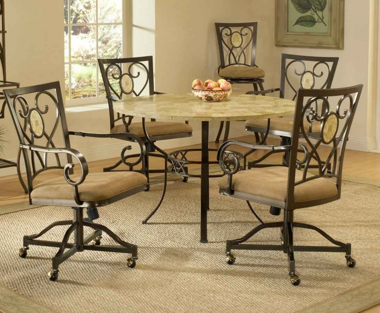 Brookside Round Dining Collection - Oval Caster Chair - Hillsdale