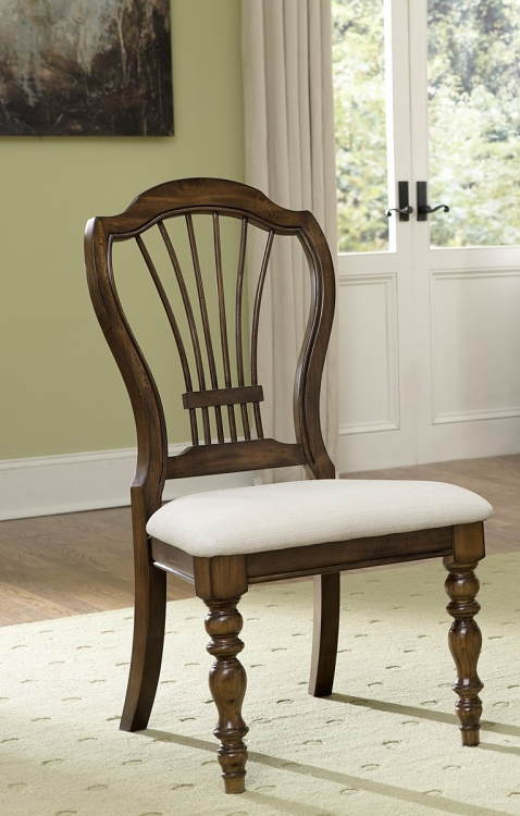 Pine Island Wheat Back Side Chair - Dark Pine - Ivory