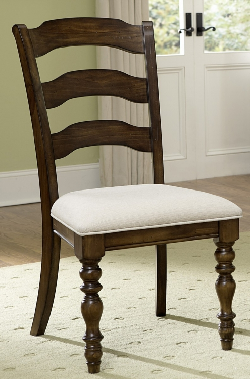 Pine Island Ladder Back Side Chair - Dark Pine - Ivory
