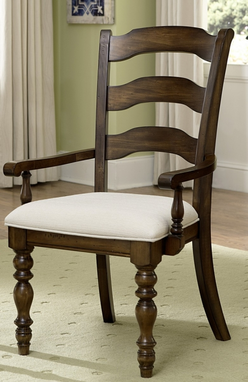 Pine Island Ladder Back Arm Chair - Dark Pine - Ivory