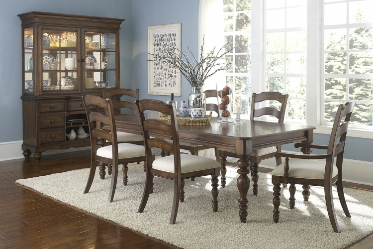 Pine Island 7 PC Dining Set with Ladder Back Side Chairs and Arm Chairs - Dark Pine