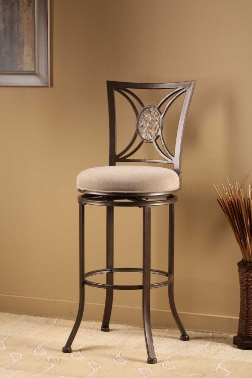 Rowan Swivel Bar Stool - Silver Brown - Hillsdale