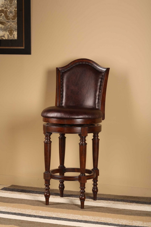 Barcelona Swivel Bar Stool - Brown Cherry - Hillsdale