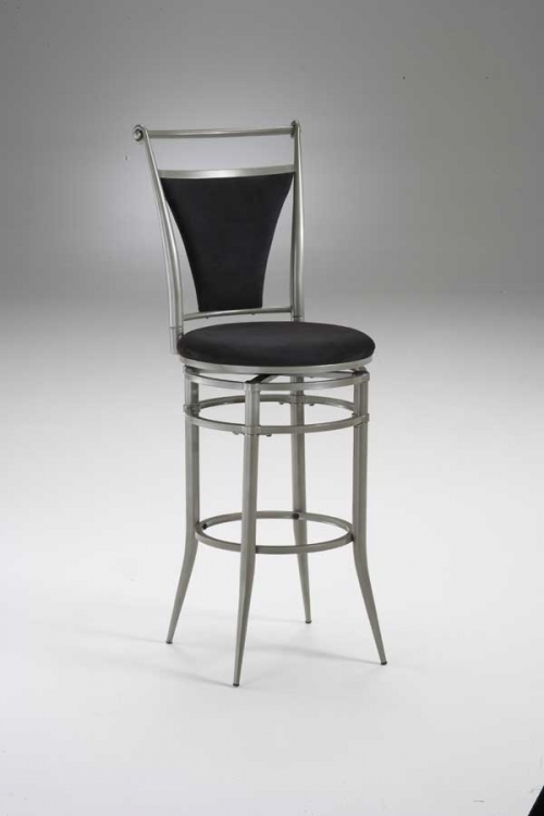 Cierra Metal Swivel Bar Stool with Black Faux Suede