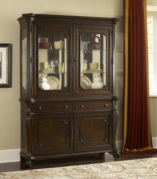 Grandover Buffet Server and Hutch - Dark Cherry - Hillsdale