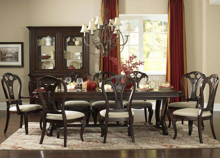 Grandover 5 Piece Dining Set with Large Extension Table - Dark Cherry
