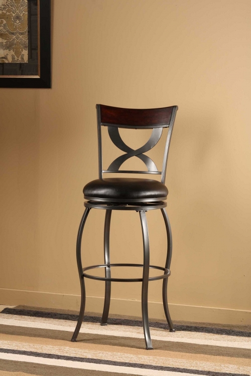 Stockport Swivel Bar Stool with Distressed Cherry Wood Panel - Pewter