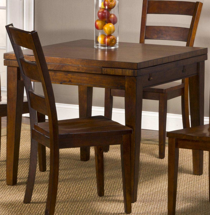 Harrods Creek Square Gathering Table with Drop Leaf - Medium Brown Oak - Hillsdale