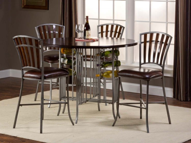 Sarasota Counter Height Round Dining Set - Dark Walnut