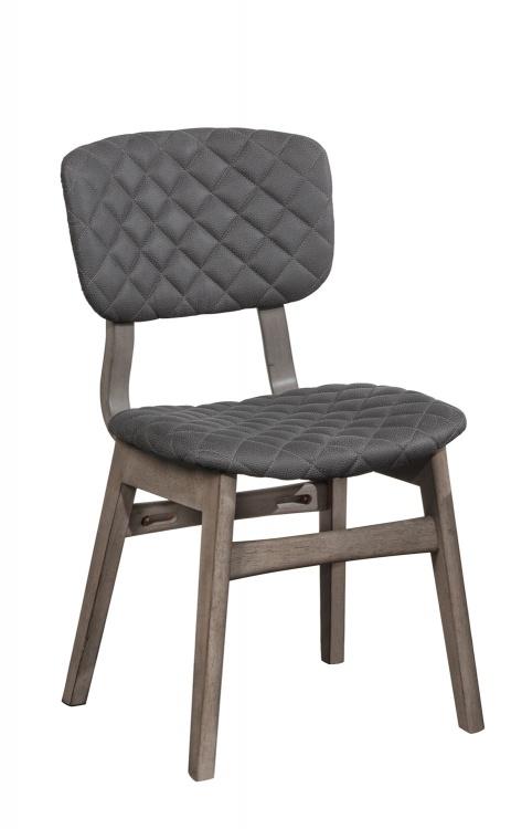 Alden Bay Modern Diamond Stitch Dining Chair - Weathered Gray- Set of 2