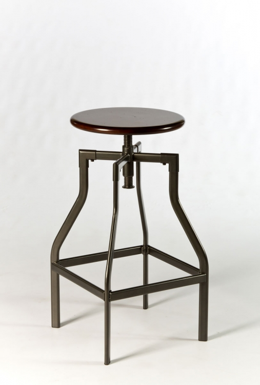 Cyprus Adjustable Backless Stool - Pewter/Distressed Cherry