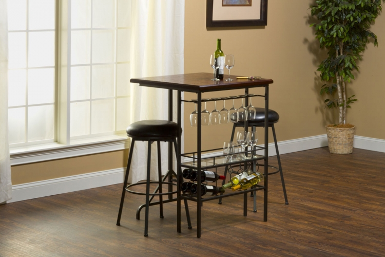 Bardstown Bar Table with Two Backless Non-Swivel Stools - Pewter/Distressed Cherry - Hillsdale