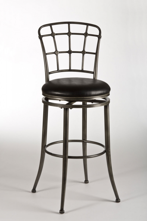 Claymont Swivel Bar Stool - Pewter Rub/Black