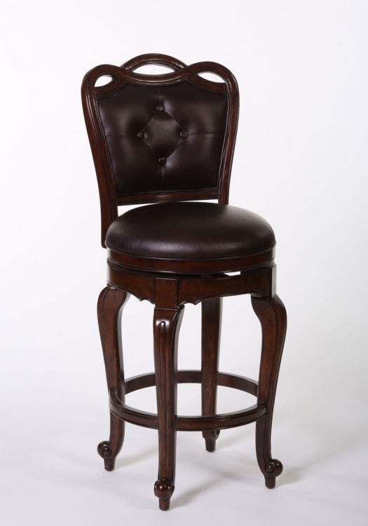 Langdale Swivel Bar Stool - Dark Cherry
