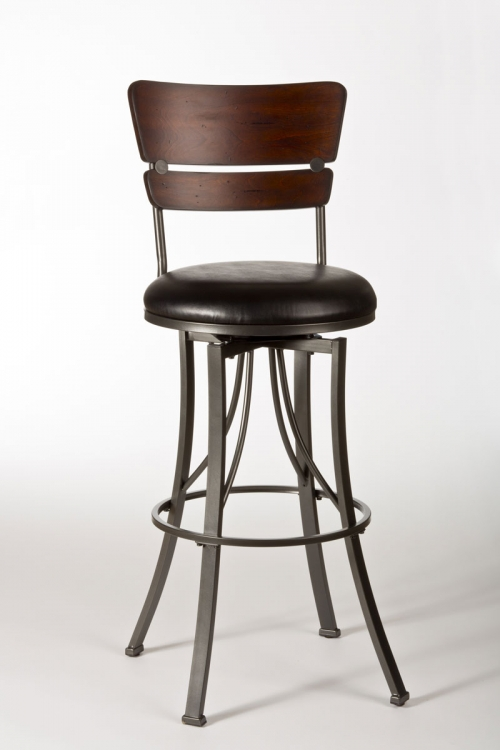Santa Monica Swivel Bar Stool - Pewter/Distressed Cherry