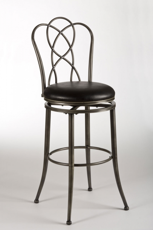 Landover Swivel Bar Stool - Pewter Rub/Black - Hillsdale