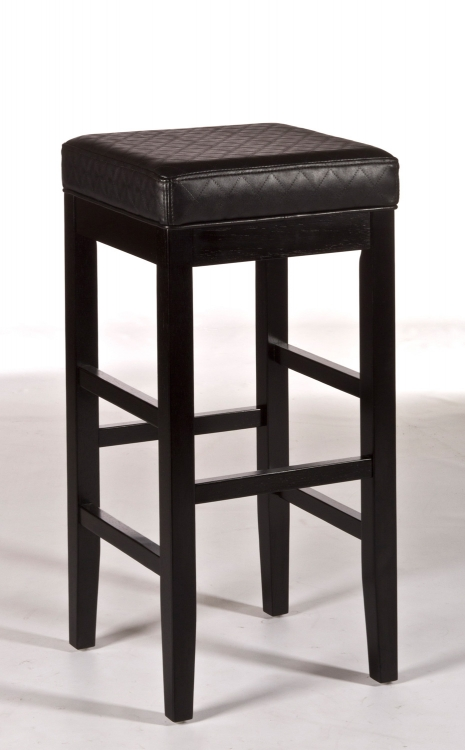 Hammond Non-Swivel Backless Bar Stool - Black Vinyl - Hillsdale