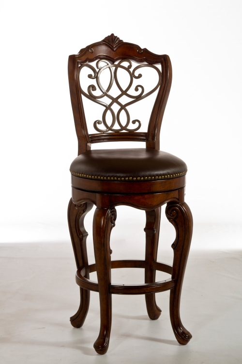 Burrell Swivel Counter Stool - Dark Brown