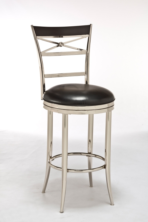 Kilgore Swivel Counter Stool - Black Vinyl/Shiny Nickel