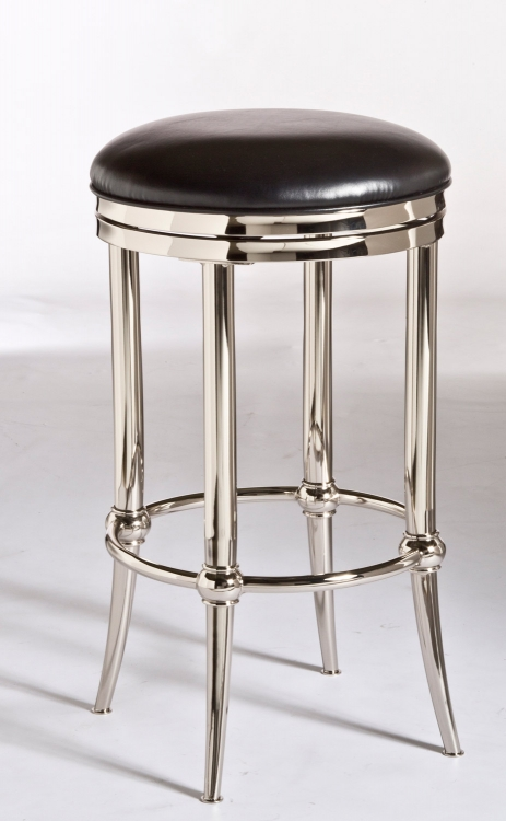 Cadman Backless Counter Stool - Black Vinyl/Shiny Nickel - Hillsdale