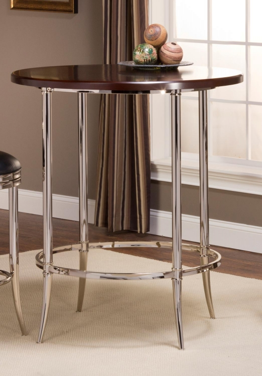 Maddox Bar Height Bistro Table - Espresso/Shiny Nickel - Hillsdale
