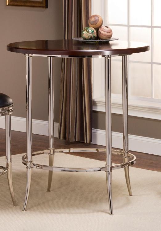 Maddox Bar Height Bistro Table - Espresso/Shiny Nickel