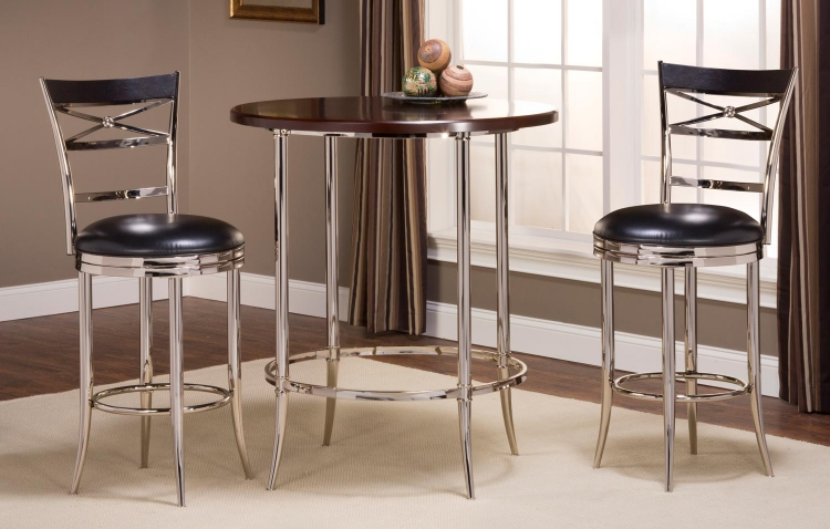 Maddox Bar Height Bistro Dining Set - Espresso/Shiny Nickel with Kilgore Swivel Bar Stool