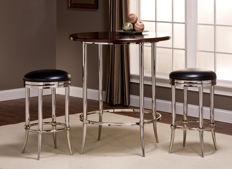 Maddox Bar Height Bistro Dining Set - Espresso/Shiny Nickel with Cadman Backless Bar Stool