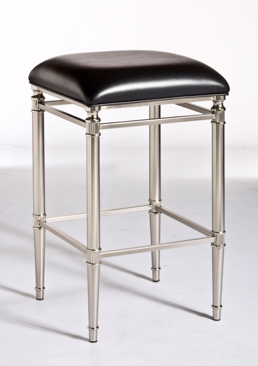 Riverside Non-Swivel Backless Counter Stool - Dull Nickel - Hillsdale