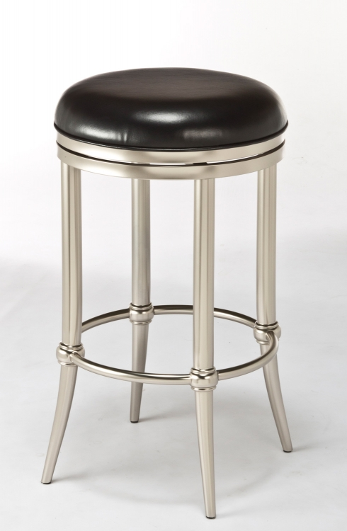 Cadman Backless Counter Stool -Black Vinyl/ Dull Nickel