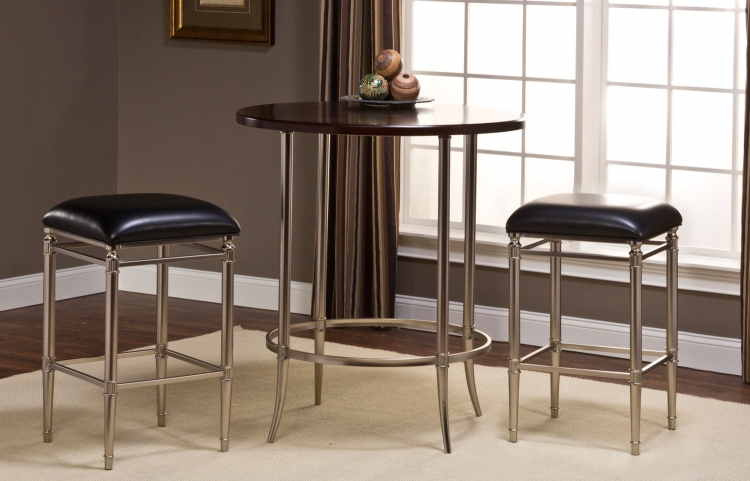 Maddox Bar Height Bistro Dining Set - Espresso/Dull Nickel with Riverside Non-Swivel Backless Bar Stool