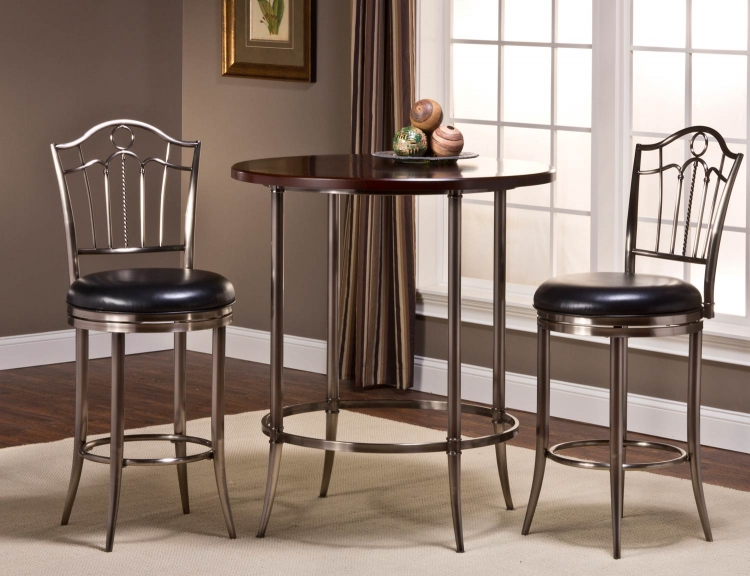 Maddox Bar Height Bistro Dining Set - Espresso/Antique Nickel with Portland Swivel Bar Stool