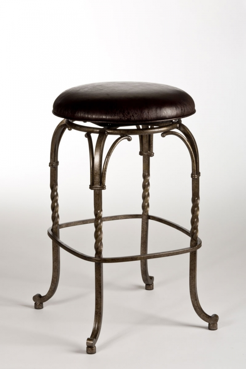 Keene Backless Swivel Bar Stool - Pewter with Antique Bronze Highlights