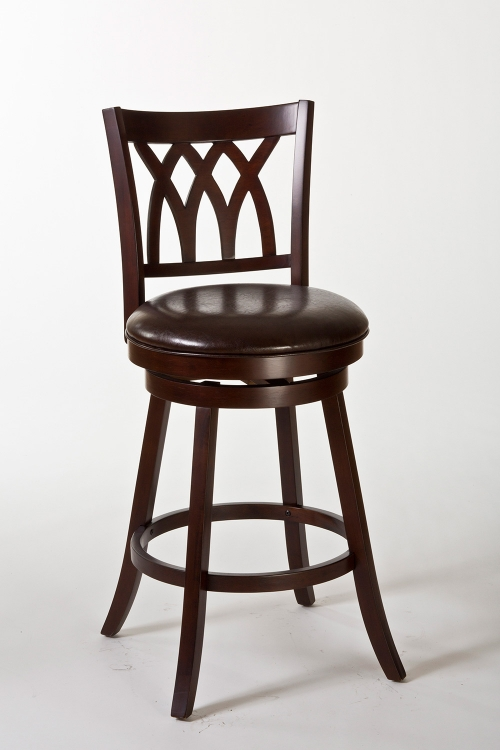 Tateswood Swivel Counter Stool - Cherry/Brown PU