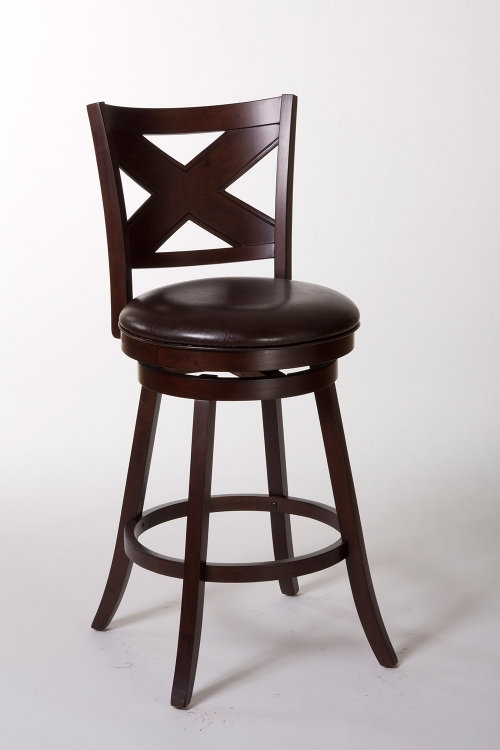 Ashbrook Swivel Bar Stool - Cherry/Brown PU