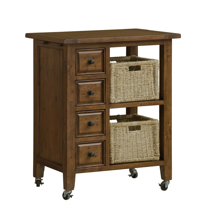 Tuscan Retreat Kitchen Cart with 2 Basket Storage - Antique Pine