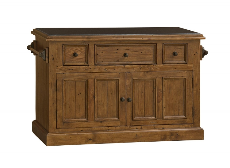 Tuscan Retreat Large Granite Top Kitchen Island - Antique Pine