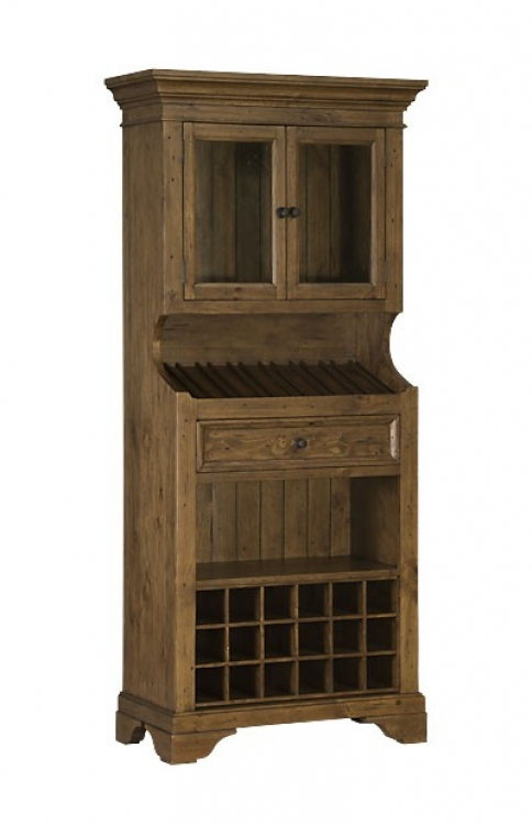 Tuscan Retreat Tall Slanted Wine Rack with 2 Glass Doors on Top and Bottom Wine Cubby - Antique Pine