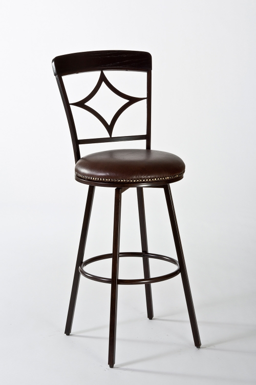 Constance Swivel Counter Stool - Dark Brown/Brown PU